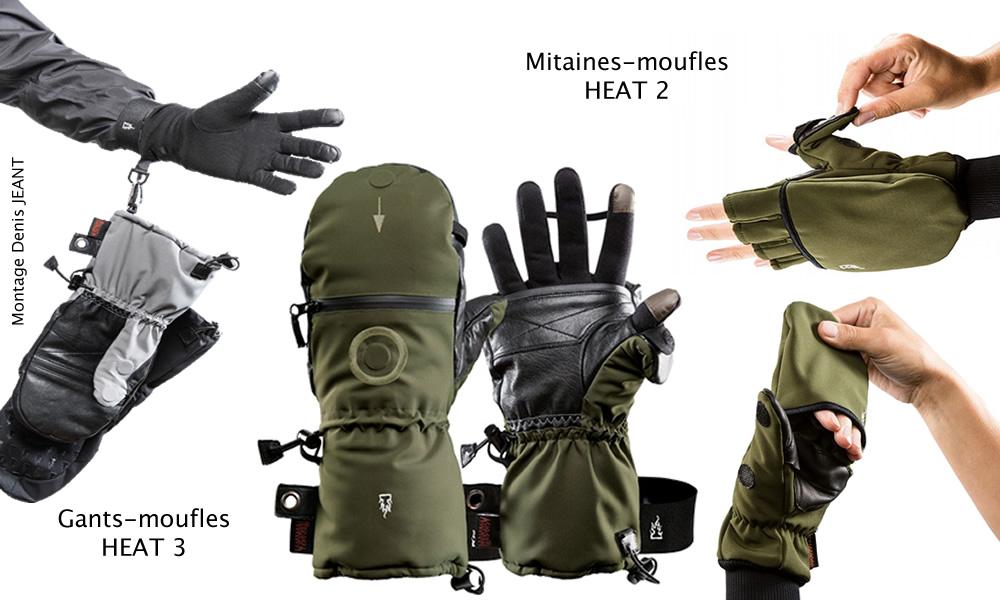 Gants-moufles Heat 3 et mitaines-moufles Heat 2